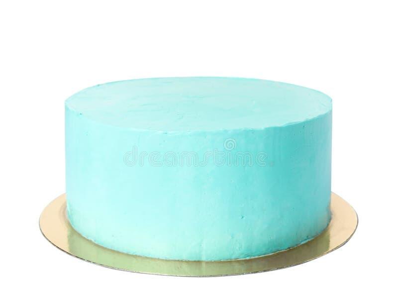 Torta de cumpleaños deliciosa fresca en el fondo blanco imagenes de archivo