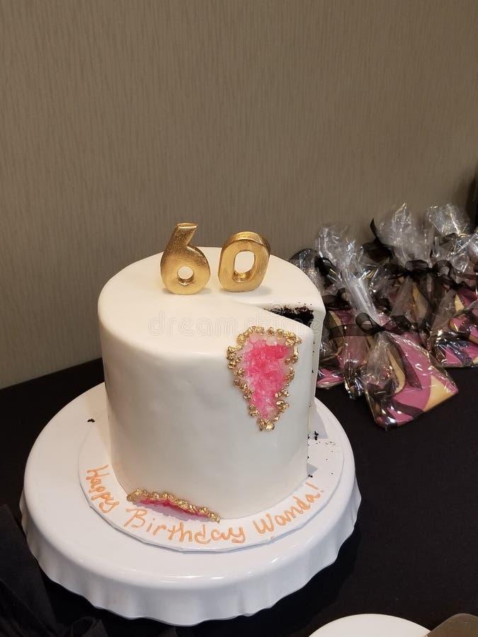 60.a torta de cumpleaños feliz foto de archivo libre de regalías