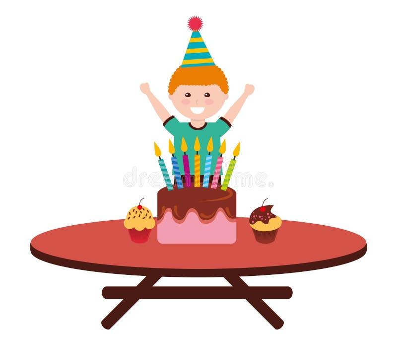 Torta de cumplea?os feliz del muchacho con las velas en la tabla stock de ilustración