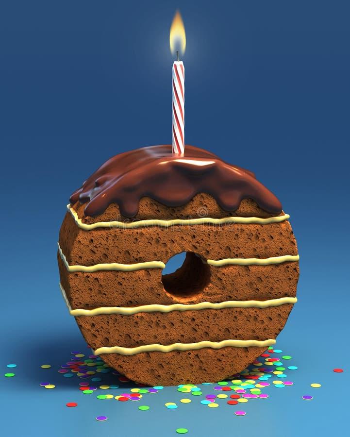 Torta de cumpleaños formada del número cero con la vela stock de ilustración