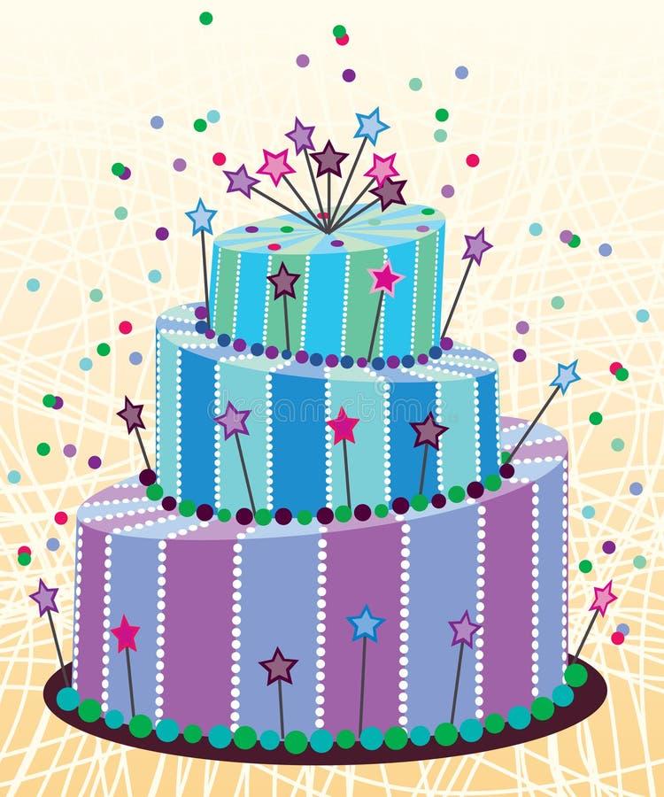 Torta de cumpleaños grande ilustración del vector