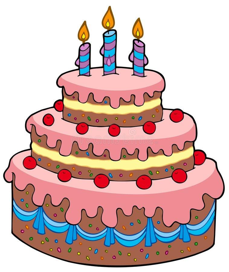 Torta de cumpleaños grande de la historieta ilustración del vector