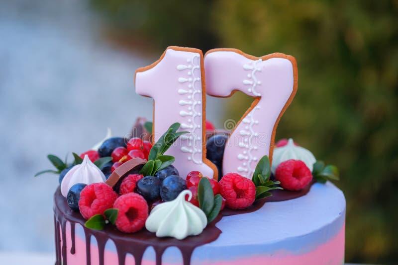 Torta de cumpleaños hermosa con el número diecisiete fotografía de archivo libre de regalías