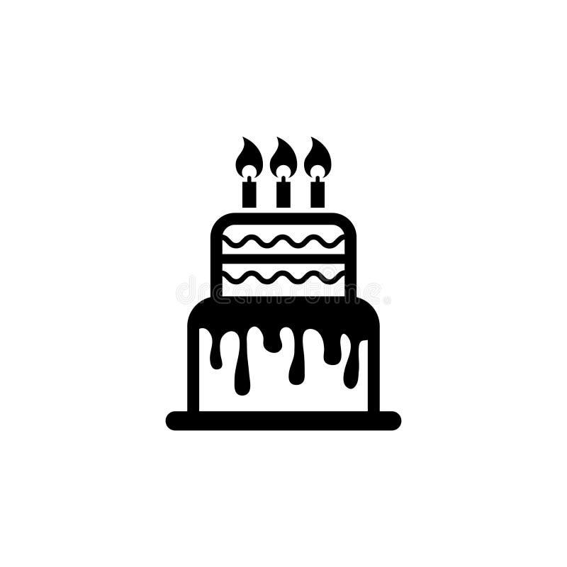 Torta de cumpleaños, icono plano del vector de la empanada dulce ilustración del vector