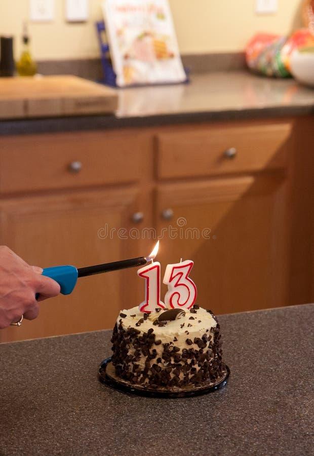 Torta de cumpleaños para el de 13 años fotografía de archivo libre de regalías