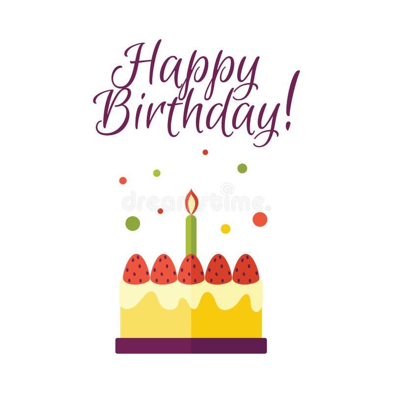 Torta de cumpleaños plana del vector con el icono de la vela stock de ilustración