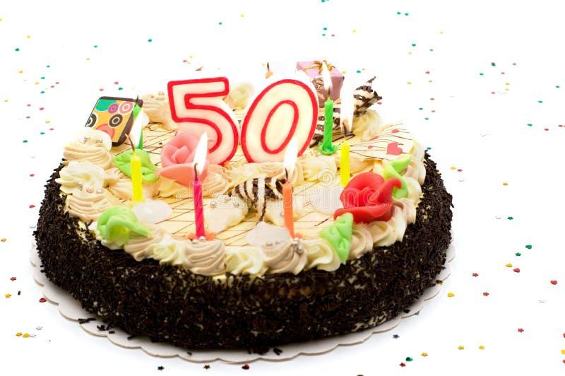 Torta de cumpleaños por 50 años de jubileo imagen de archivo libre de regalías