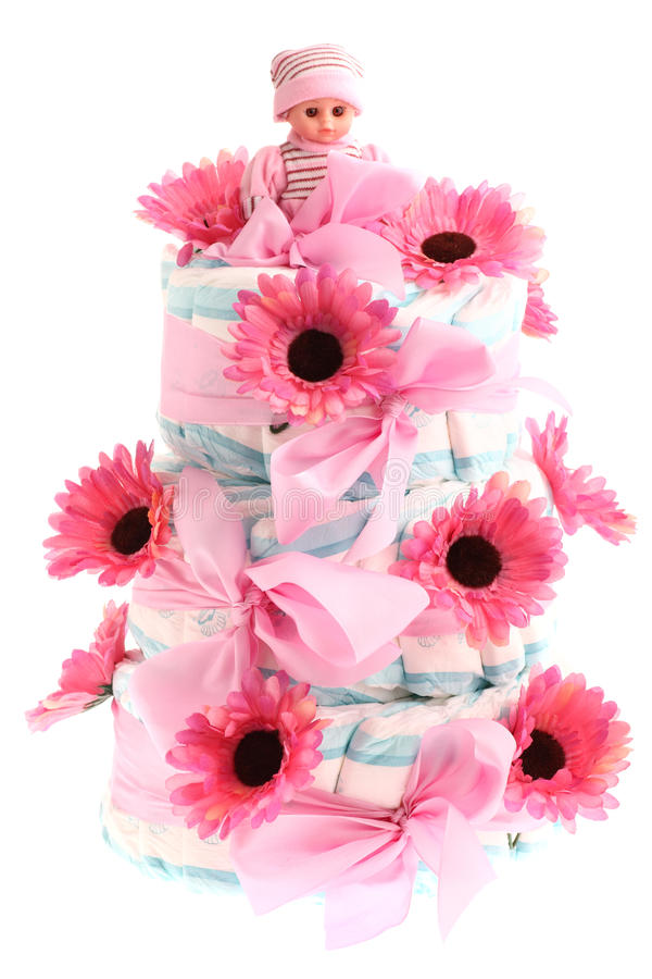 Torta de cumpleaños three-tier rosada del pañal aislada en w imagenes de archivo