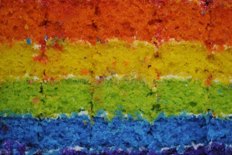 Torta de esponja del arco iris fotos de archivo libres de regalías