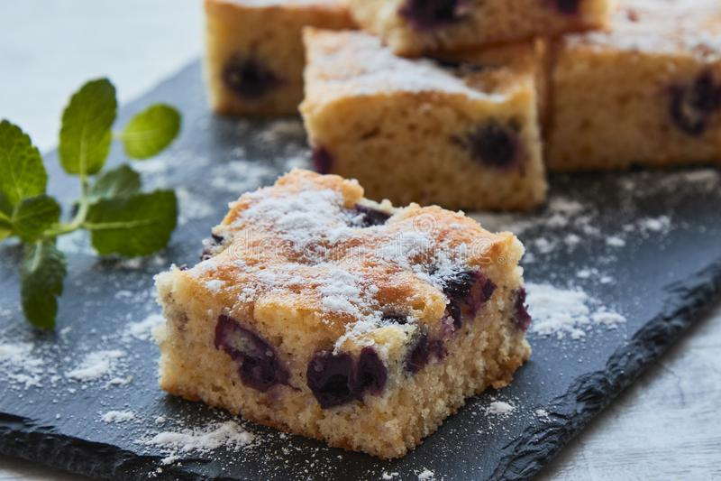 Torta de esponja de la fruta de la cereza imagenes de archivo