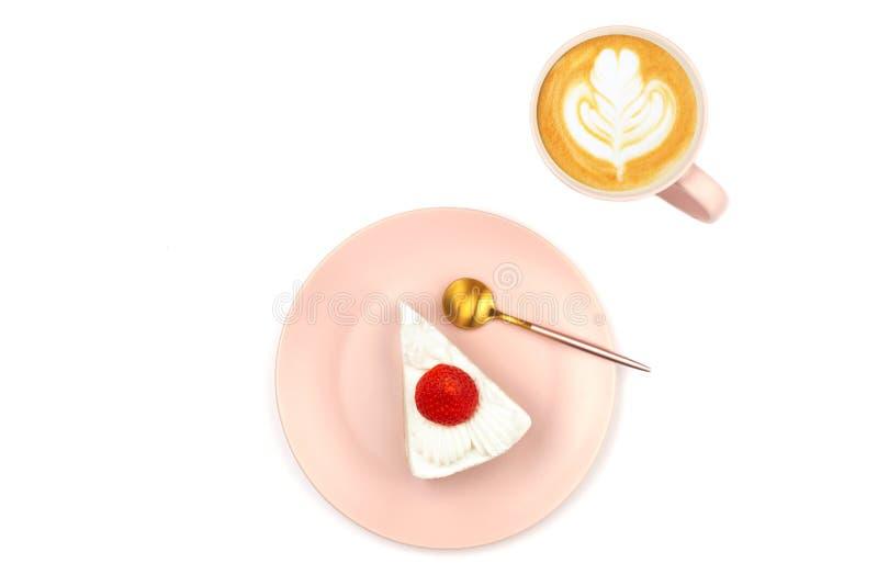 Torta de frutas y café de la fresa fotos de archivo libres de regalías