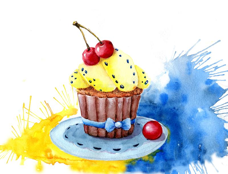 Torta de la acuarela llenada de crema y de cerezas Aislado Fácil de utilizar para el diverso diseño del menú, anuncios, cafés ilustración del vector