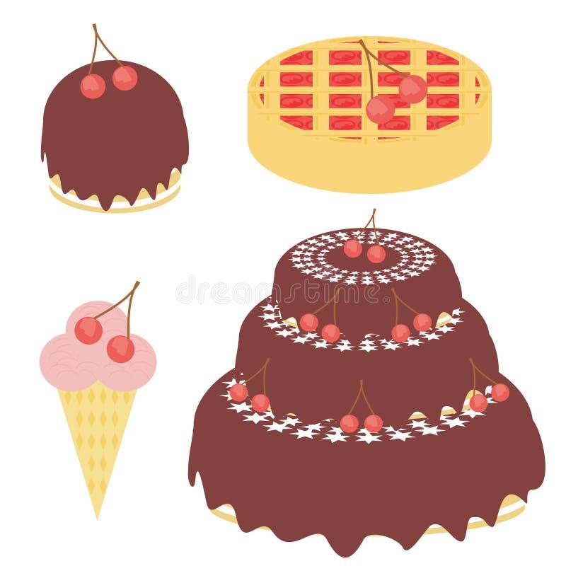 Torta de la cereza, empanada y helado stock de ilustración