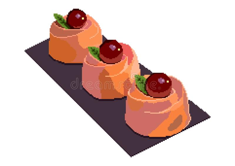 Torta de la cereza Los pedazos coloridos de las rebanadas de las tortas del dulce fijaron el ejemplo del vector Ejemplo del arte  ilustración del vector