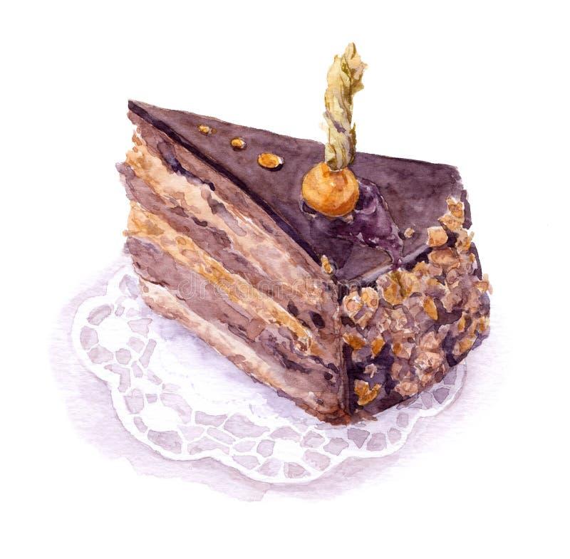 torta de la Chocolate-almendra garapiñada con la baya de la tierra-cereza, acuarela libre illustration