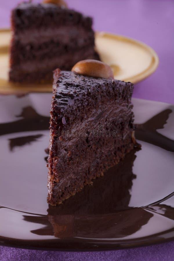 Torta de la crema del chocolate fotografía de archivo
