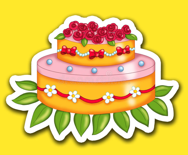 Torta de la etiqueta engomada ilustración del vector