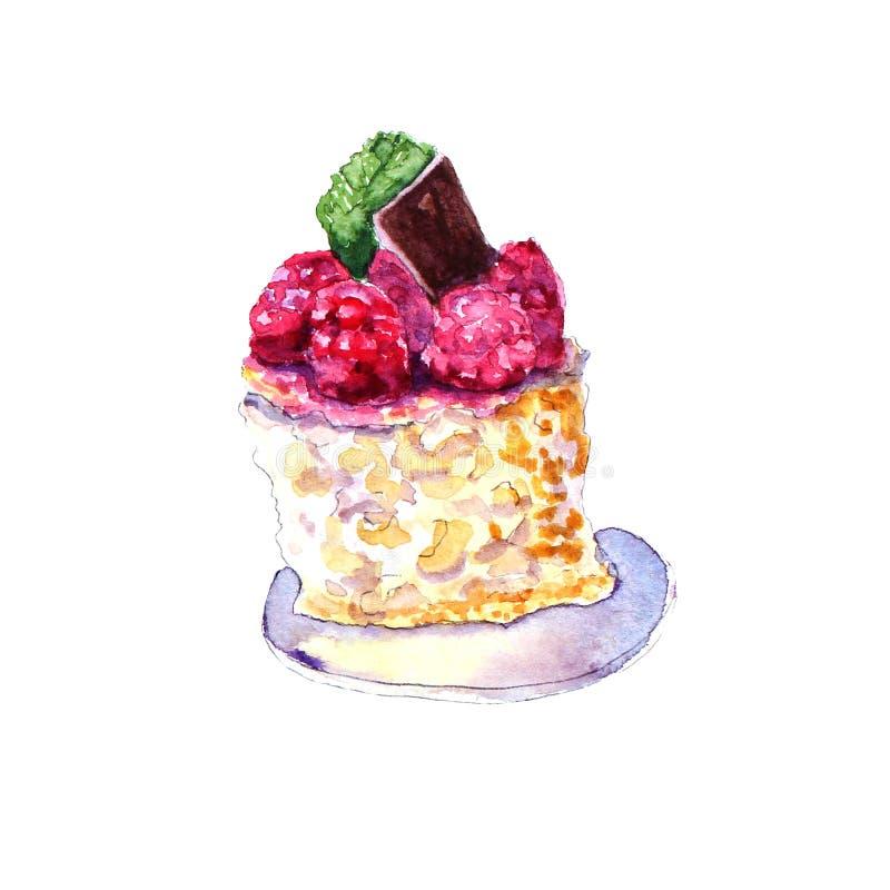 Torta de la frambuesa de la acuarela mini stock de ilustración