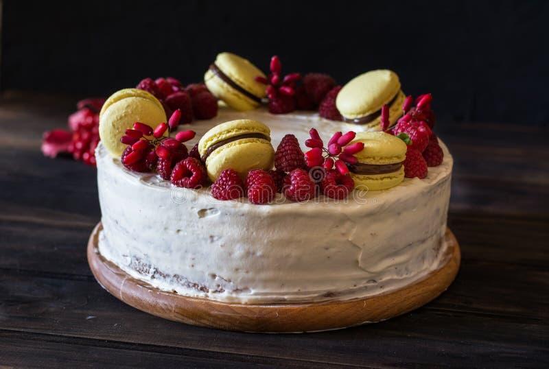 Torta de la frambuesa con el chocolate Torta del bérbero Decoración de la menta Pastel de queso en la tabla de madera todavía vid imagen de archivo