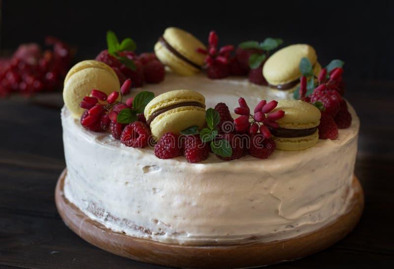 Torta de la frambuesa con el chocolate Torta del bérbero Decoración de la menta Pastel de queso en la tabla de madera todavía vid foto de archivo
