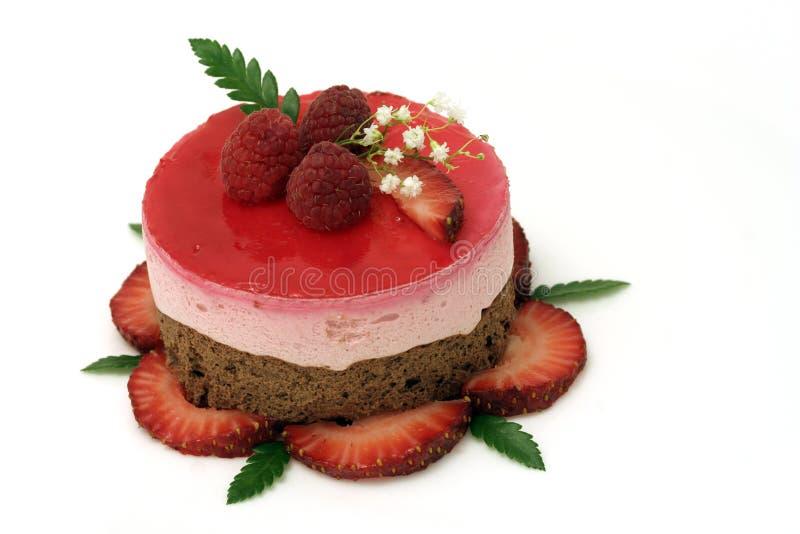 Torta de la fresa de la tarjeta del día de San Valentín fotos de archivo