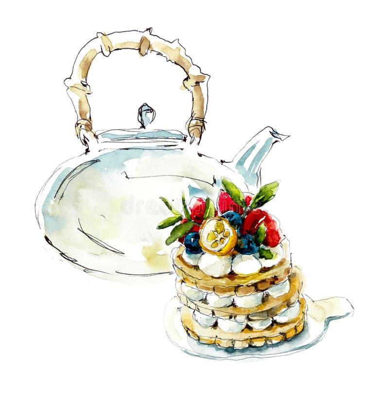 Torta de la galleta de las bayas y tetera de los vidrios Ejemplo dibujado mano de la acuarela libre illustration
