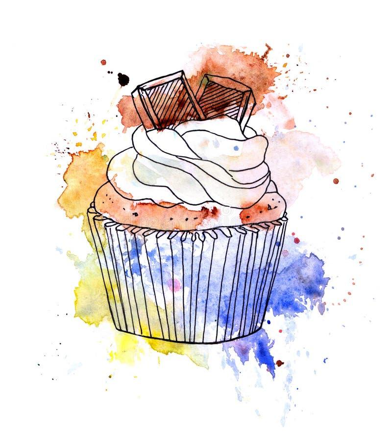 Torta de la magdalena con el chocolate watercolor ilustración del vector