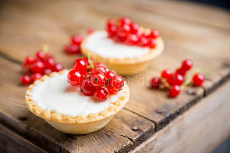 Torta de la pasa roja adornada con las bayas maduras frescas en el fondo rústico Foco selectivo imagen de archivo