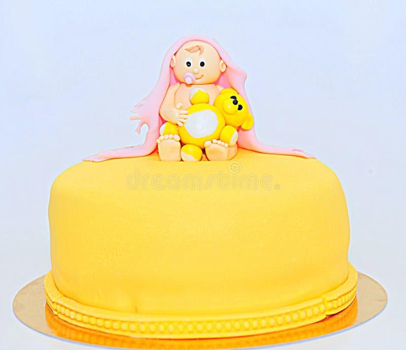 Torta de la pasta de azúcar del tema de la fiesta de bienvenida al bebé fotografía de archivo