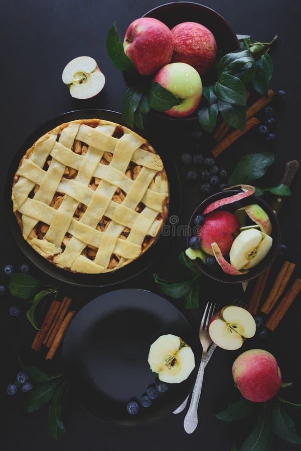A torta de maçã americana da tradição com maçãs, mirtilo e canela decorou as folhas da maçã no fundo de madeira escuro foto de stock