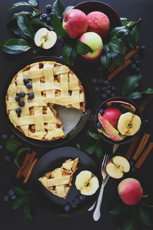 A torta de maçã americana da tradição com maçãs, mirtilo e canela decorou as folhas da maçã no fundo de madeira escuro imagem de stock