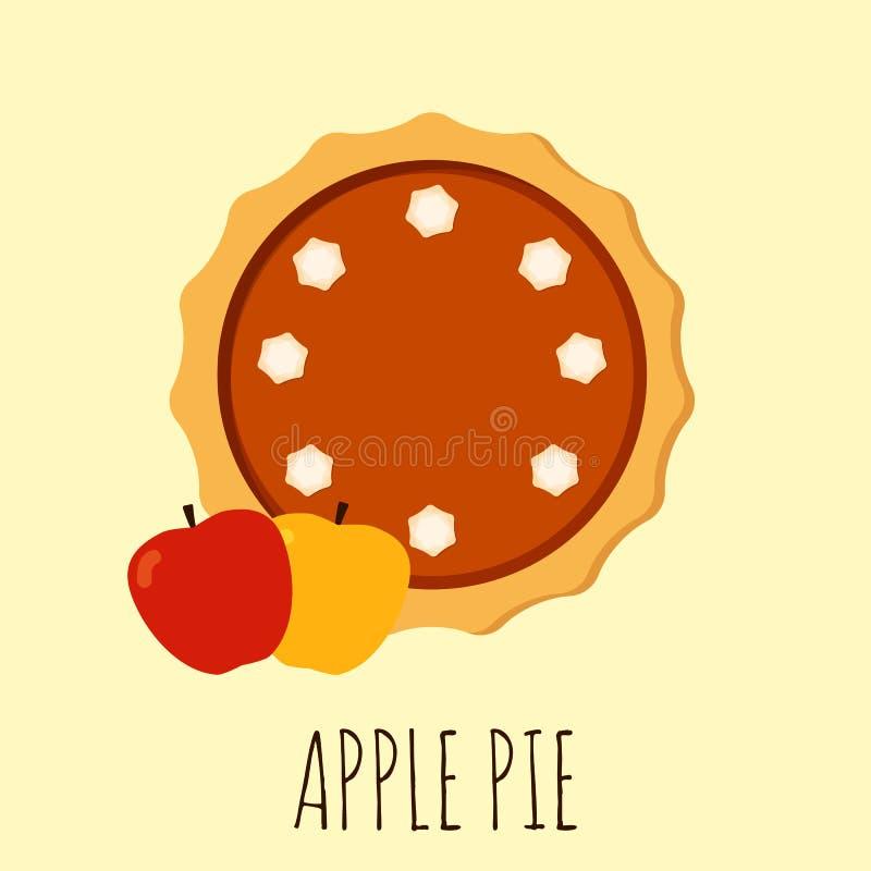 Torta de maçã caseiro Ilustração lisa do vetor isolada no fundo Torta com creme ilustração stock