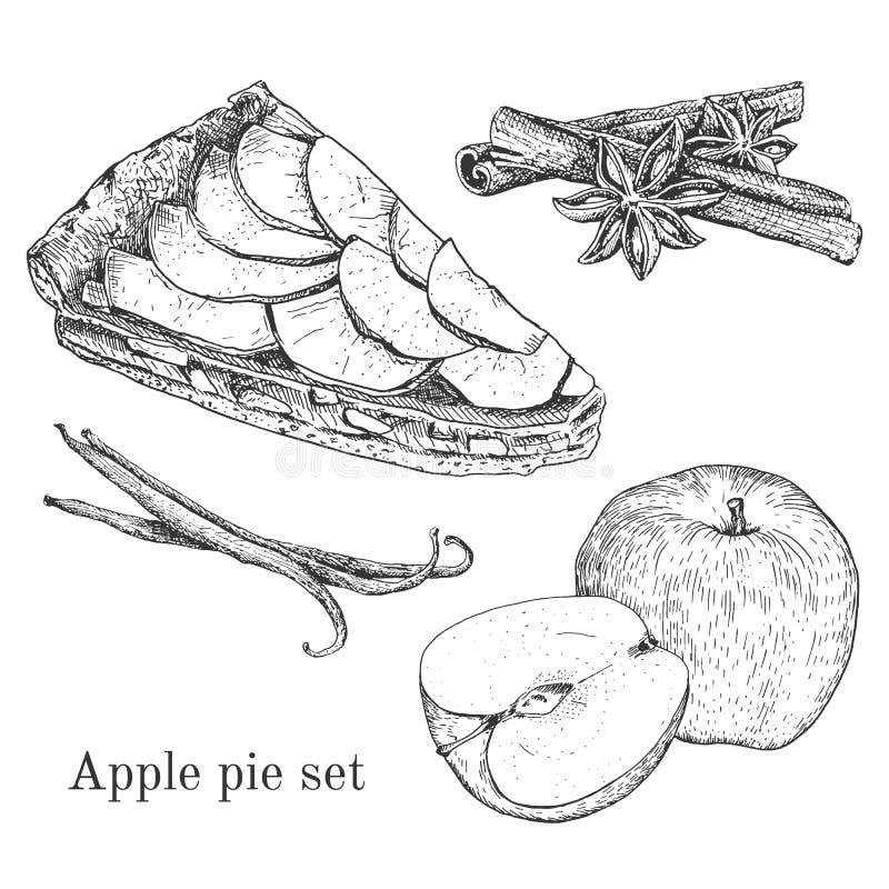 A torta de maçã da tinta ajustou-se com maçãs, canela, baunilha ilustração stock