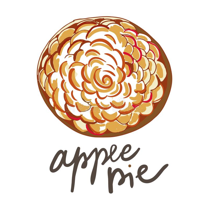 Torta de maçã francesa Ilustração tirada mão do vetor para a receita ilustração royalty free