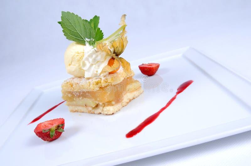 Torta de maçã morna com gelado de baunilha [2] fotografia de stock royalty free