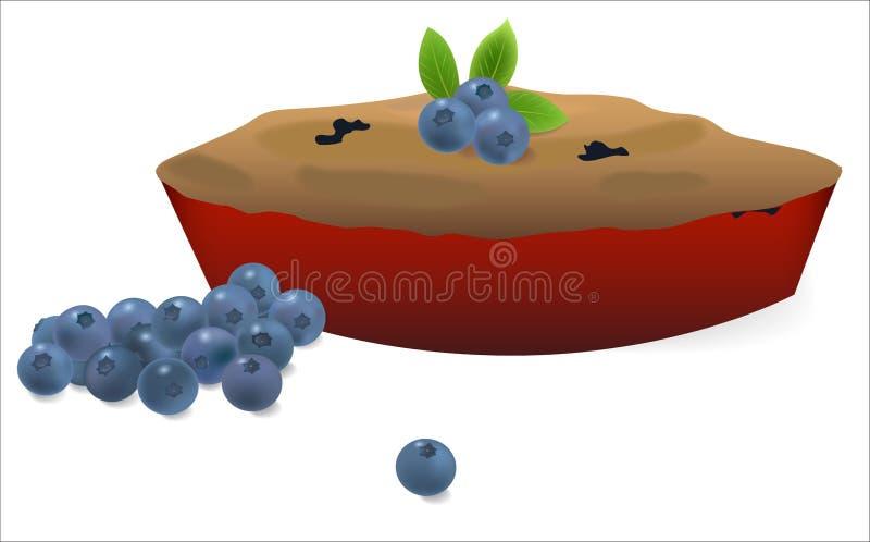 Torta de mirtilo com mirtilos ilustração do vetor
