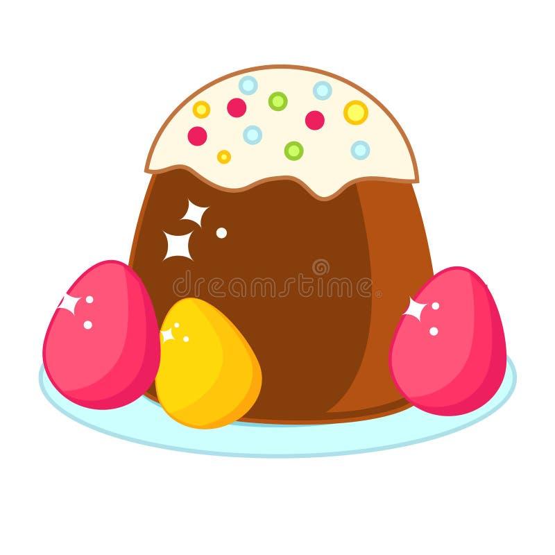 Torta de Pascua con los huevos coloreados Clip art de la comida de Pascua libre illustration