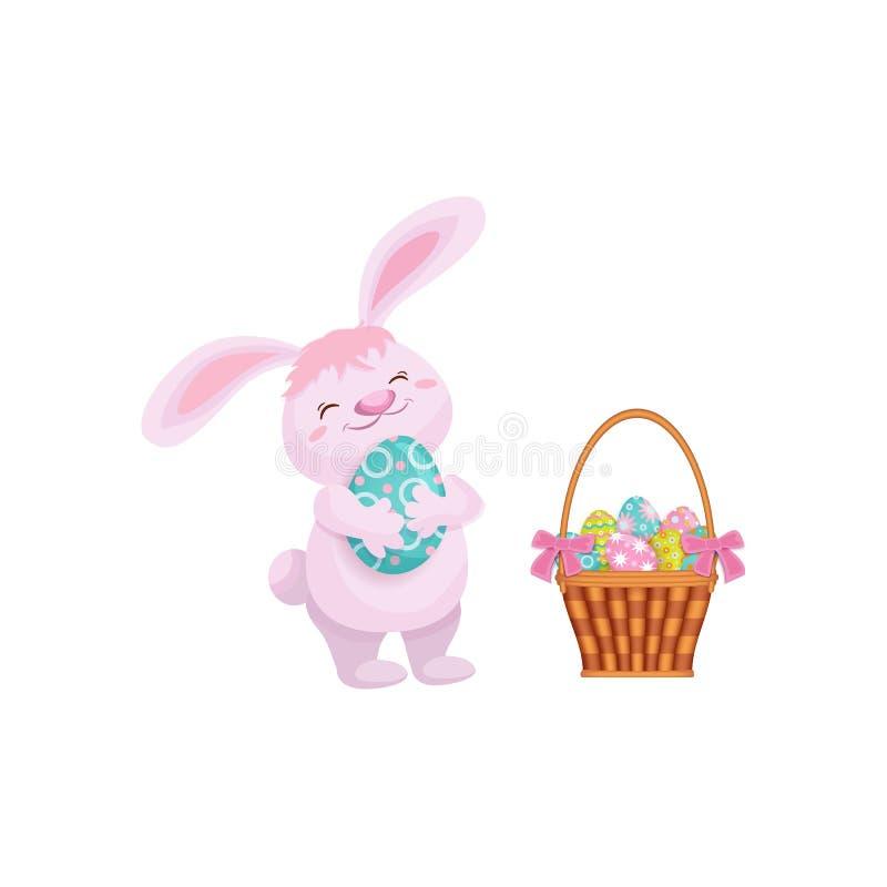 Torta de pascua del vector, conejo que sostiene el huevo de Pascua stock de ilustración