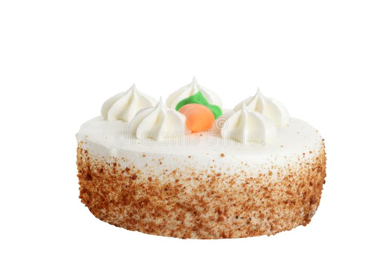 Torta de zanahoria aislada con la formación de hielo del queso cremoso imagen de archivo libre de regalías