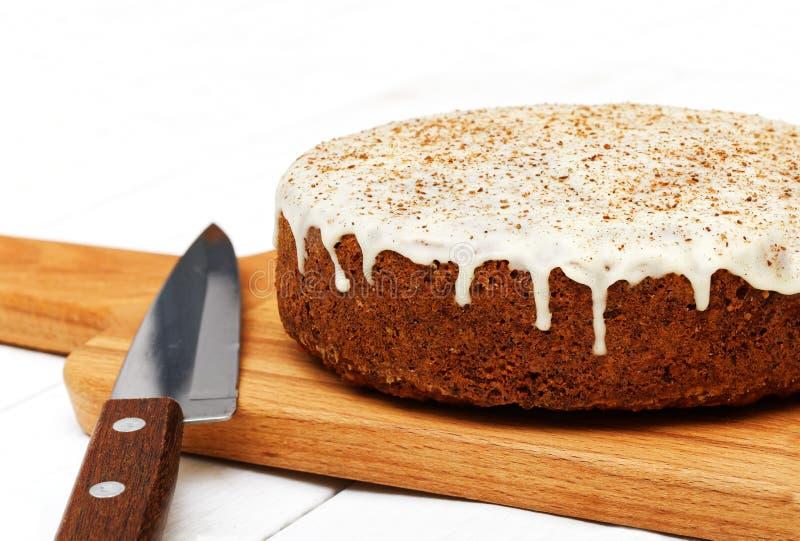 Torta de zanahoria hecha en casa del primer imágenes de archivo libres de regalías