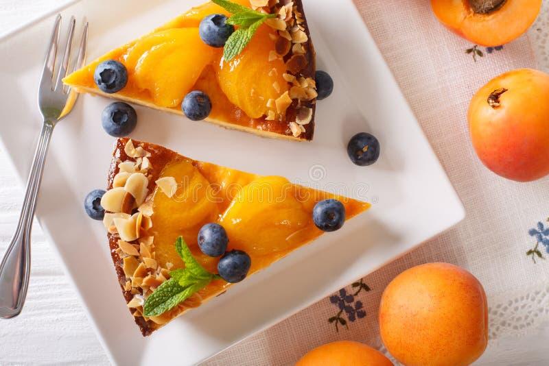 Torta del albaricoque con los arándanos, la menta y el primer de las nueces en una placa imagen de archivo libre de regalías