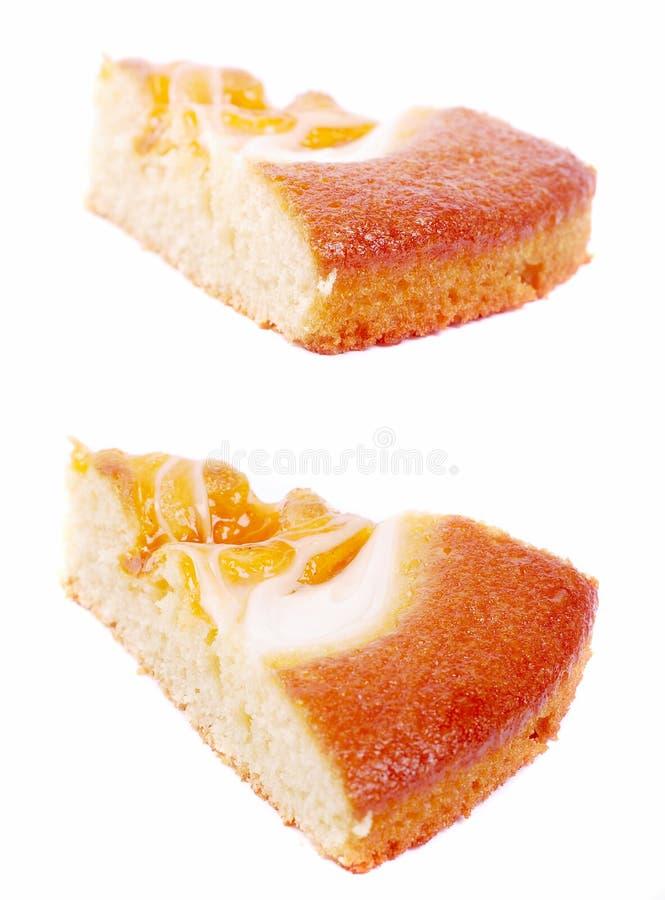 Torta del albaricoque de la rebanada imagen de archivo