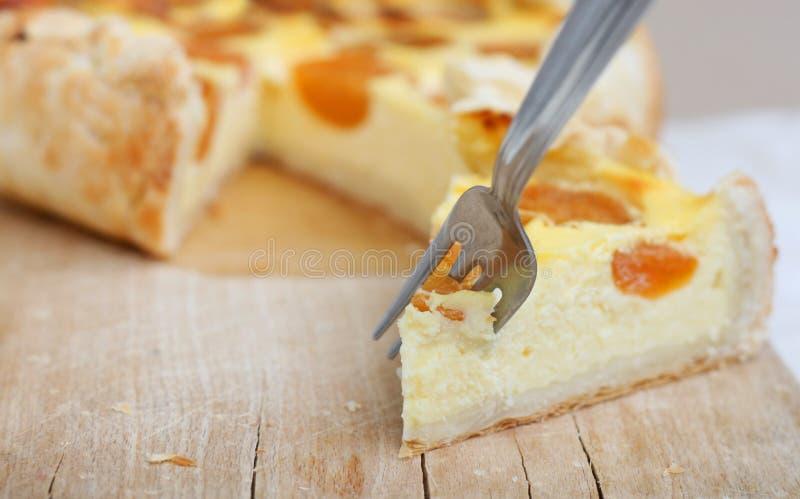 Torta del albaricoque del requesón imagen de archivo