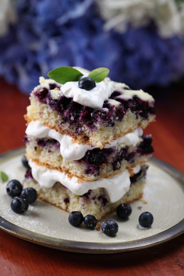 Torta del arándano con crema azotada imagenes de archivo
