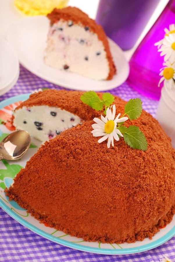 Torta del arándano con el desmoche de la migaja del chocolate fotos de archivo