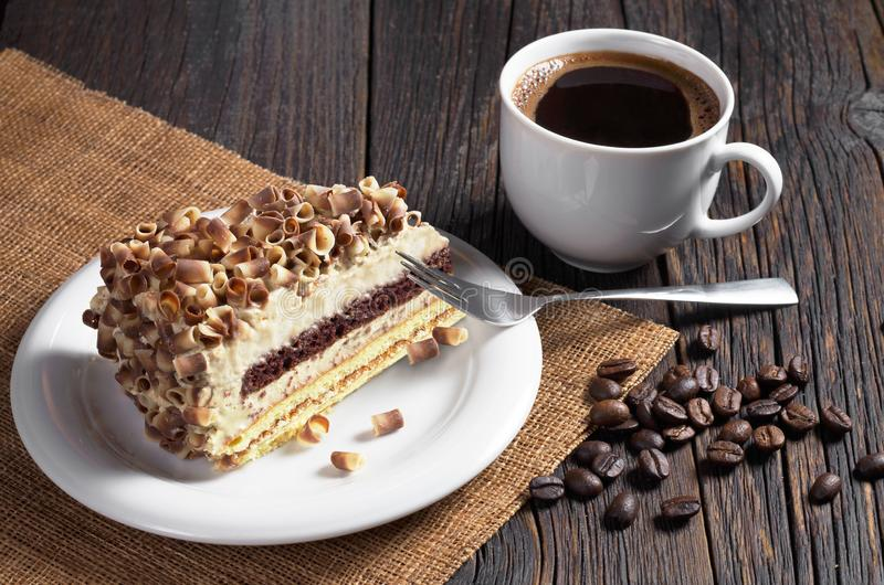 Torta del café y de la crema imagen de archivo