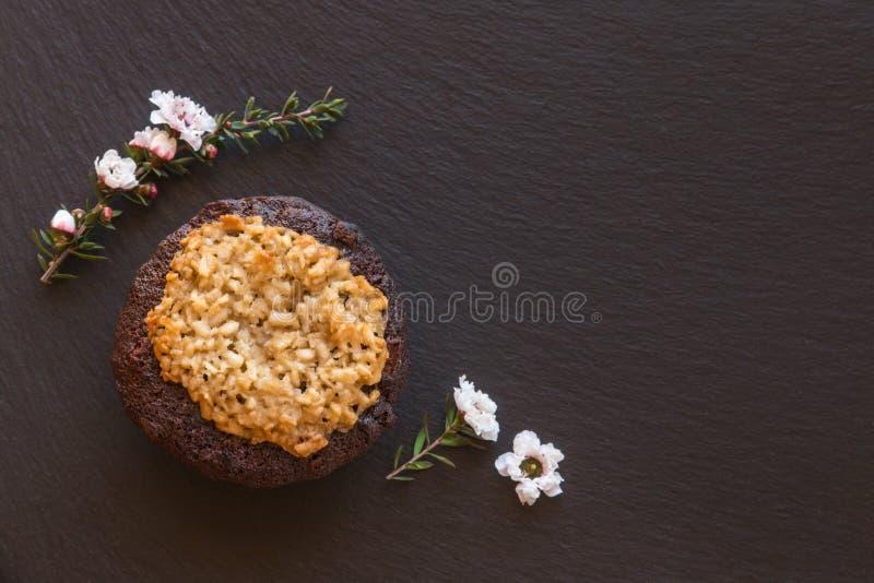 Torta del chocolate y de coco con las flores blancas del manuka en tablero negro de la porción de la pizarra imagenes de archivo