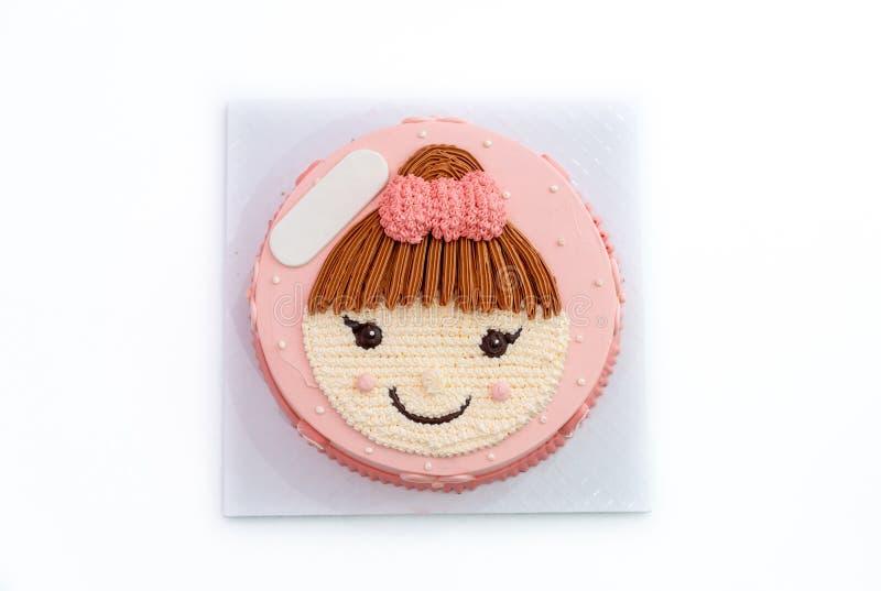 torta del feliz cumpleaños con la muchacha en la torta superior fotografía de archivo libre de regalías