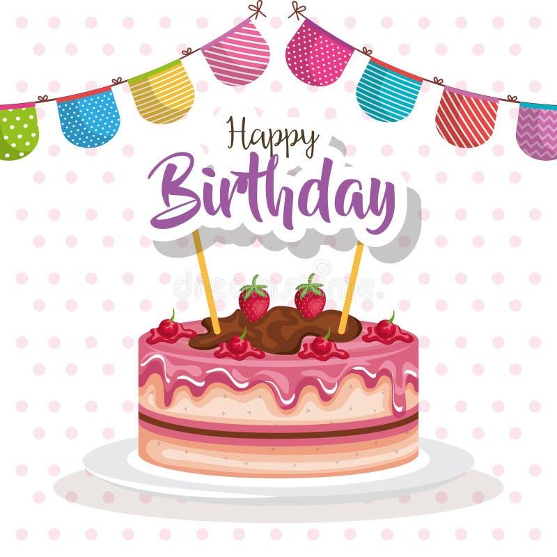 Torta del feliz cumpleaños con la tarjeta de la celebración de la guirnalda ilustración del vector