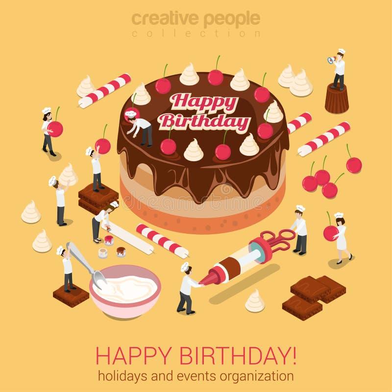 Torta del feliz cumpleaños con las herramientas micro de los panaderos de la gente alrededor stock de ilustración